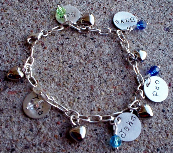Mothers Birthstone Three Disc Name Bracelet