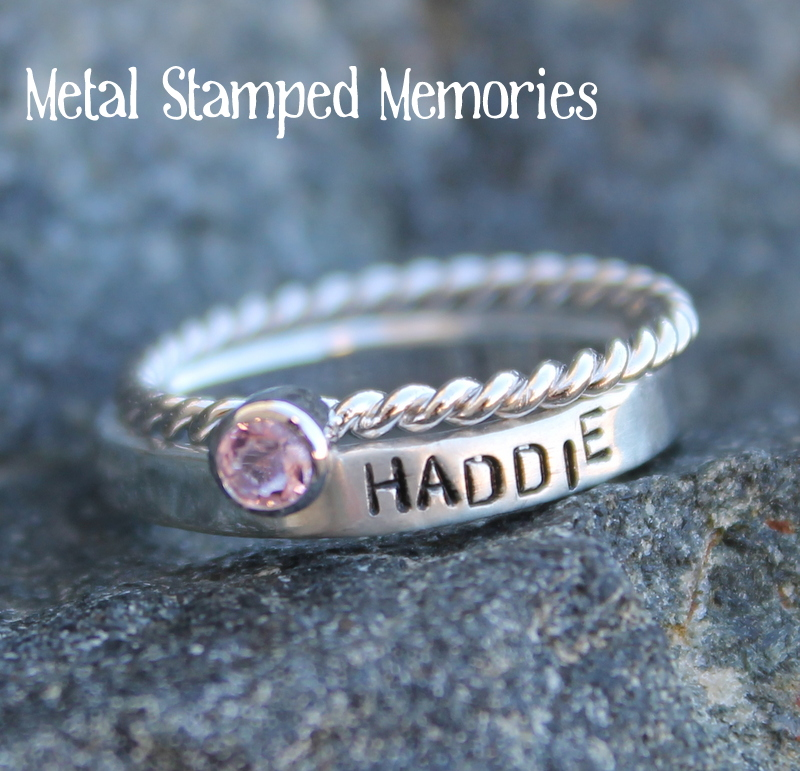 Stacking Birthstone Name Ring Set