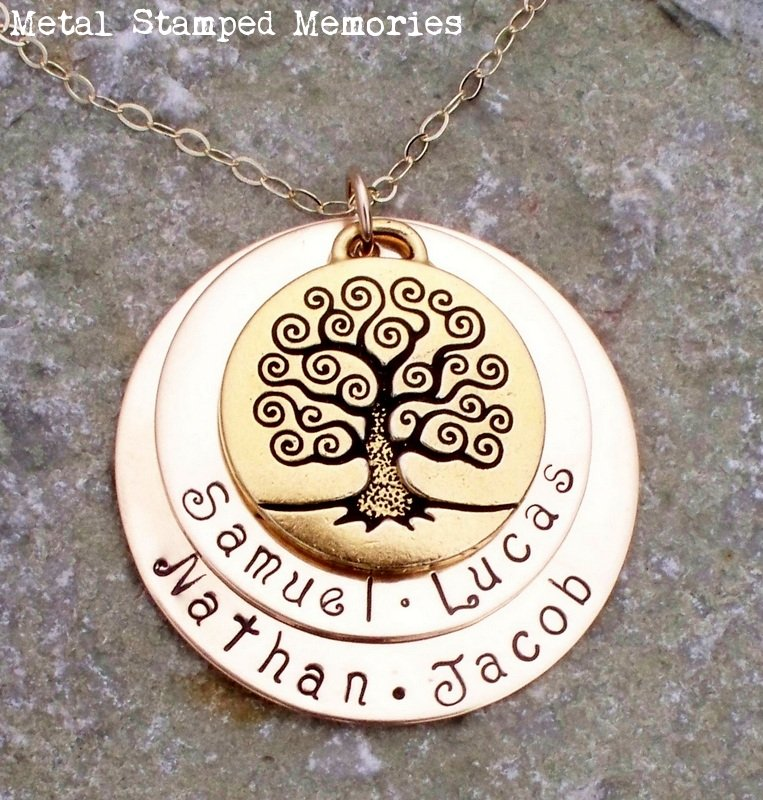 Double Stacked Tree of Life Necklace in Gold