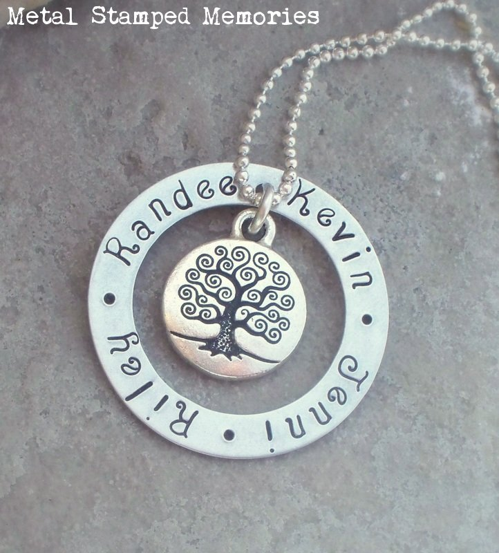 Family Tree Washer Necklace