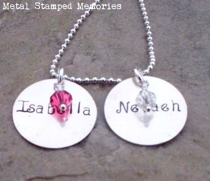 Circle Disc Birthstone Mothers Necklace with Two Discs
