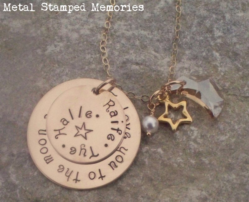 Love You to the Moon and Back Necklace in Gold