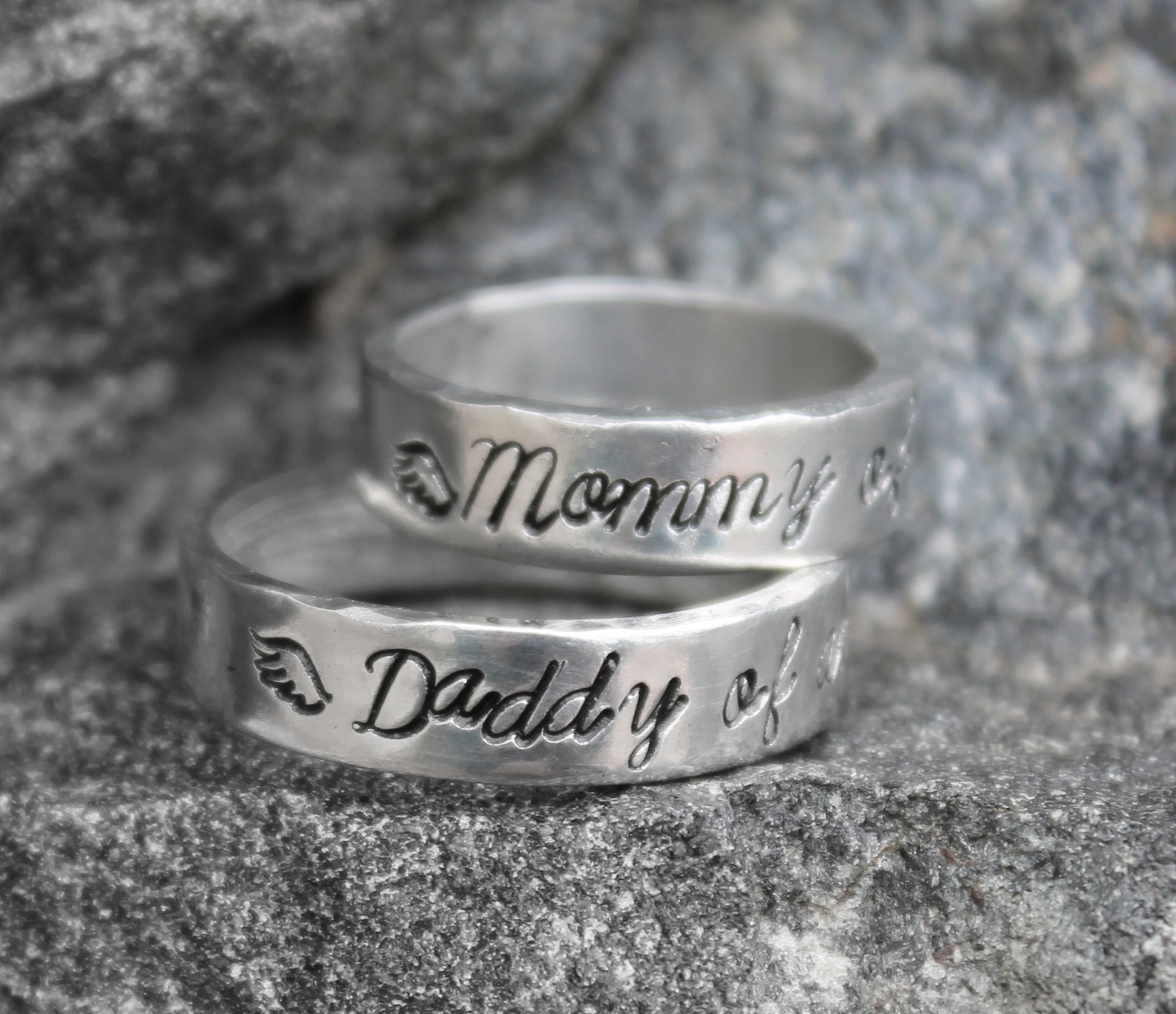 Mommy and Daddy of an Angel Ring Set