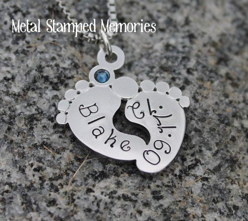 Baby Footprints Birthstone Pendant