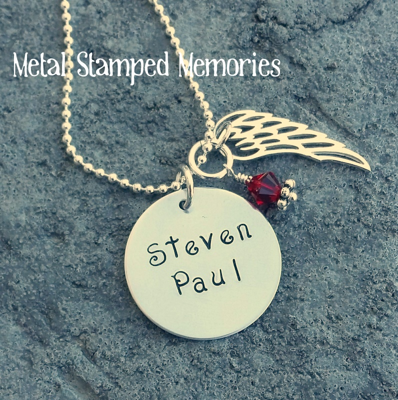 Circle Memorial Necklace with Silver Angel Wing