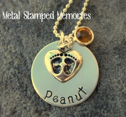 Baby Footprints Heart Charm Necklace