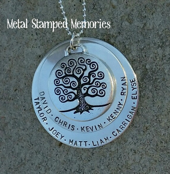 handstamped tree of life necklace