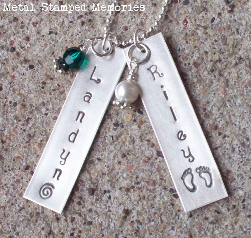Hand stamped mothers jewelry personalized with names and double tag name necklace aloadofball Gallery