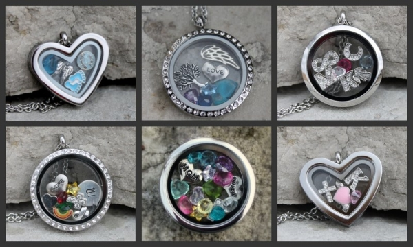 heart and circle floating lockets