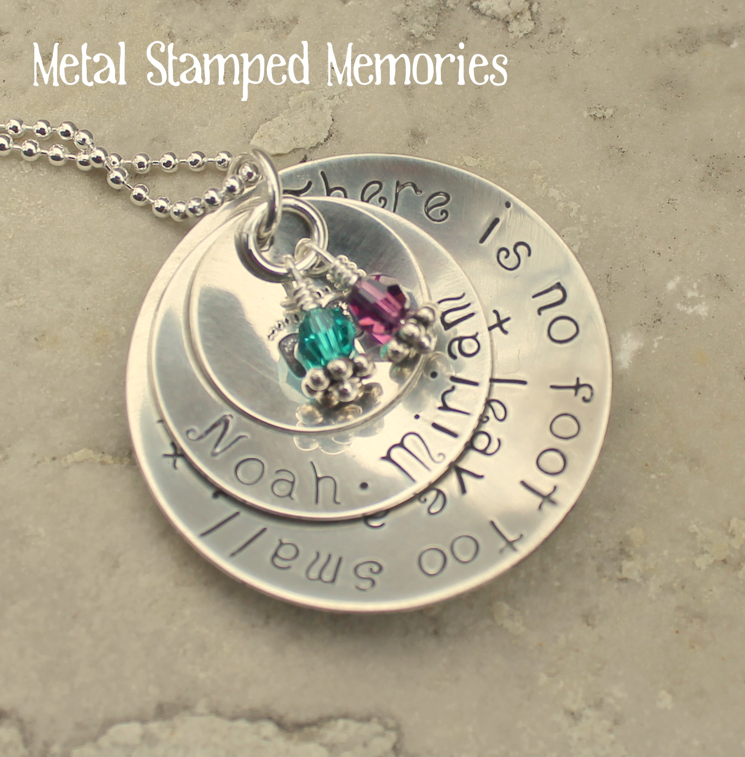 jewelry silver disc foot sterling chains baby stamped with name personalized hand birthstones pin necklace mommy